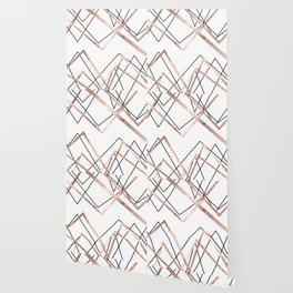 Rose Gold White Linear Triangle Abstract Pattern Wallpaper