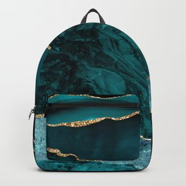 Teal, Gold, and Crushed Jade Agate Marble Design Backpack