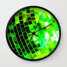 Funky Green Disco Ball Wall Clock