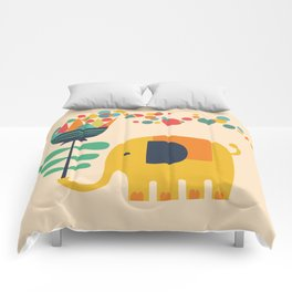 Elephant with giant flower Comforters