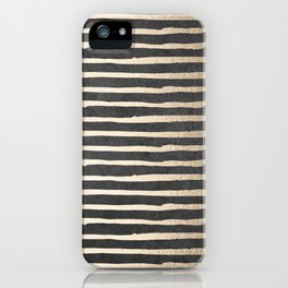 White Gold Sands Thin Stripes on Black iPhone Case