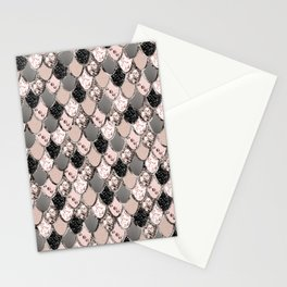 Rose Gold Blush Mermaid Princess Glitter Scales #1 #shiny #decor #art #society6 Stationery Cards