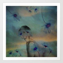 Woman hidden in a world of flowers Art Print