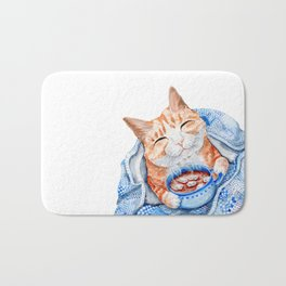 Happy Cat Drinking Hot Chocolate Bath Mat