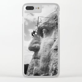 Mt. Rushmore Under Construction - Washington Sculpture Clear iPhone Case
