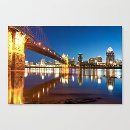 John Roebling Bridge Reflections - Cincinnati Ohio Skyline Canvas Print