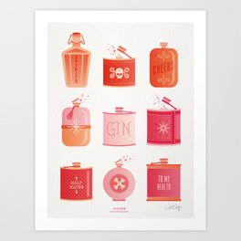 Flask Collection – Pink/Peach Ombré Palette Art Print