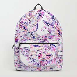 Purple pink watercolor gold chic floral paisley Backpack