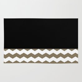 Chevron Khaki Black And White Rug