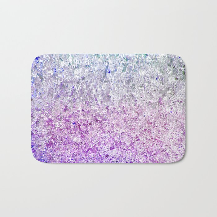 Frozen, close up photograph of snow and ice Bath Mat