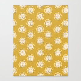 Yellow Sun Pattern Canvas Print
