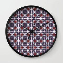Bright blue and red crystals Wall Clock