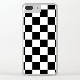 Black & White Checker Checkerboard Checkers Clear iPhone Case