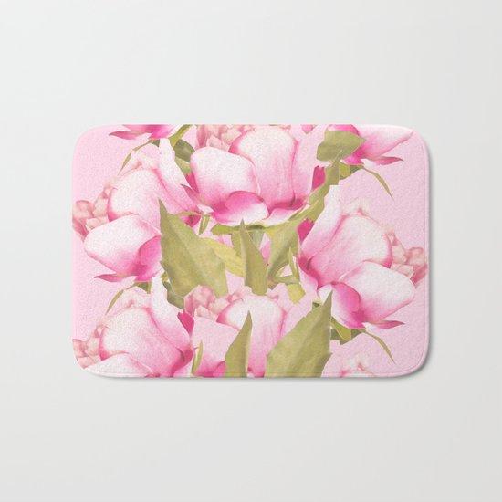 Pink Peonies on a pink background - #Sociey6 #buyart Bath Mat
