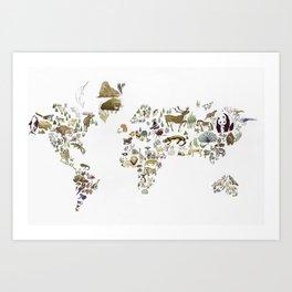 Animal Map Art Print