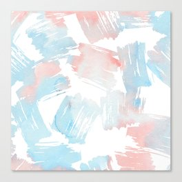 Pastel coral teal modern watercolor paint brushstrokes Canvas Print