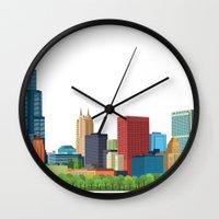 chicago Wall Clocks featuring Chicago by Felita Go
