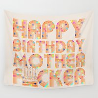birthday Wall Tapestries featuring Happy Birthday by Vickn