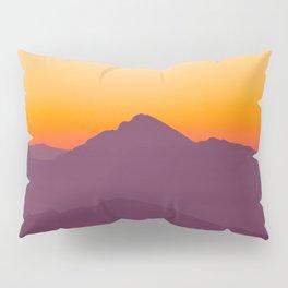 Purple Parallax Mountains Minimalist Colorful Landscape photo With Orange Sunset Sky Pillow Sham
