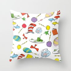 dr seuss pattern..  cat in the hat, lorax, oh the places you'll go,  Throw Pillow
