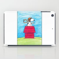 snoopy iPad Cases featuring pilot Snoopy by DROIDMONKEY