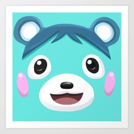 Animal Crossing Bluebear the Cub Art Print