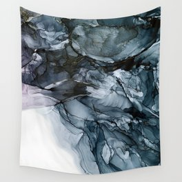 Dark Payne's Grey Flowing Abstract Painting Wall Tapestry