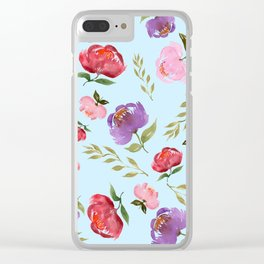 Spring Bouquet Baby Blue Clear iPhone Case