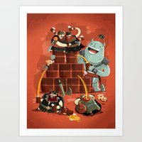 vikings Art Prints featuring :::Drunk Vikings::: by Ilias Sounas