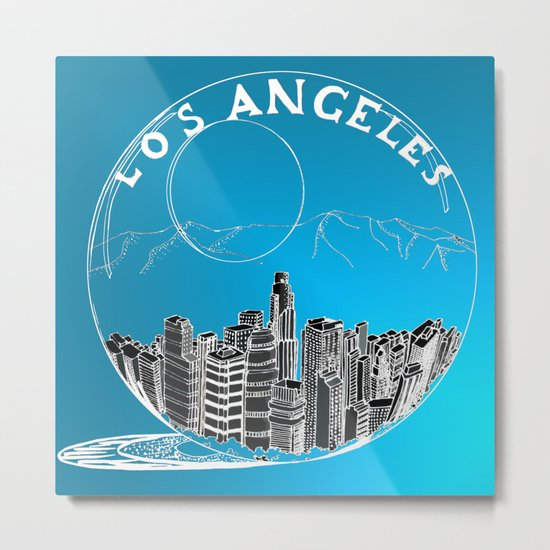 Los Angeles in a glass bowl on blue background Metal Print