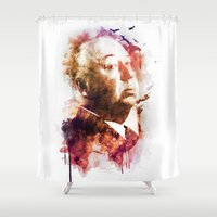 hitchcock Shower Curtains featuring ALFRED HITCHCOCK by Elizabeth Cakovan