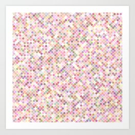Happy Pastel Square Pattern Art Print