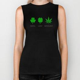 Cannabis / Hemp / Shamrock - Super Lucky mode Biker Tank