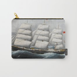 Vintage British Frigate Sailboat Painting (1881) Carry-All Pouch