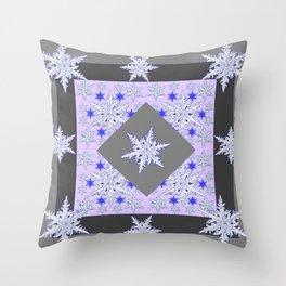 DECORATIVE GREY SNOW CRYSTALS  WINTER ART Throw Pillow