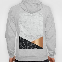 Geometric White Marble - Black Granite & Rose Gold #715 Hoody