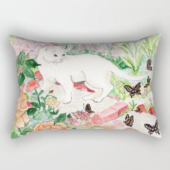 White Cat in a Garden Rectangular Pillow