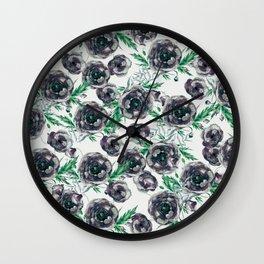 Black Poppies Wall Clock
