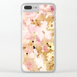 Flower Mosaic Millennial Pink and Golden Yellow Abstract Art | Honey Comb | Geometric Clear iPhone Case