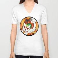 okami V-neck T-shirts featuring Amaterasu from Okami 03 by Jazmine Phillips
