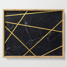Black marble with gold lines Serving Tray