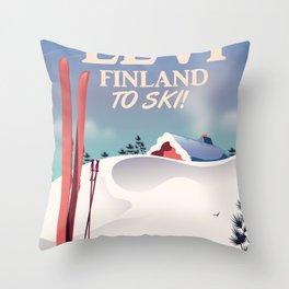 Levi, Finland ski vintage style travel poster. Throw Pillow