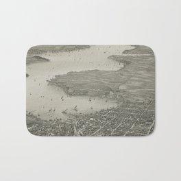 Vintage Pictorial Map of Lake Geneva WI (1882) Bath Mat