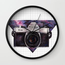 Pentax K1000 (Purple Nebula) Wall Clock