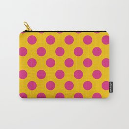 Gold & Hot Pink Medium Polka Dots Carry-All Pouch