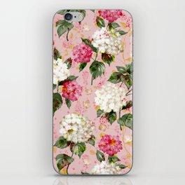 Vintage green pink white bohemian hortensia flowers iPhone Skin