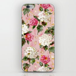 Vintage green pink white bohemian hortensia flowers iPhone Skin