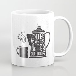 COFFEE SMELLS BETTER OUTDOORS Coffee Mug
