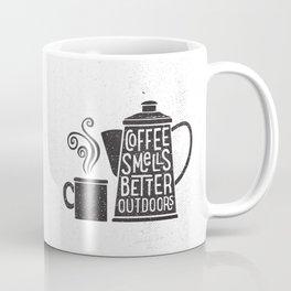 COFFEE SMELLS BETTER OUTDOORS Coffee Mug