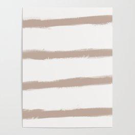 Medium Brush Strokes Horizontal  Nude on Off White Poster